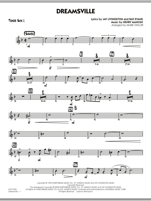 page one of Dreamsville - Tenor Sax 1ASALTTEXT