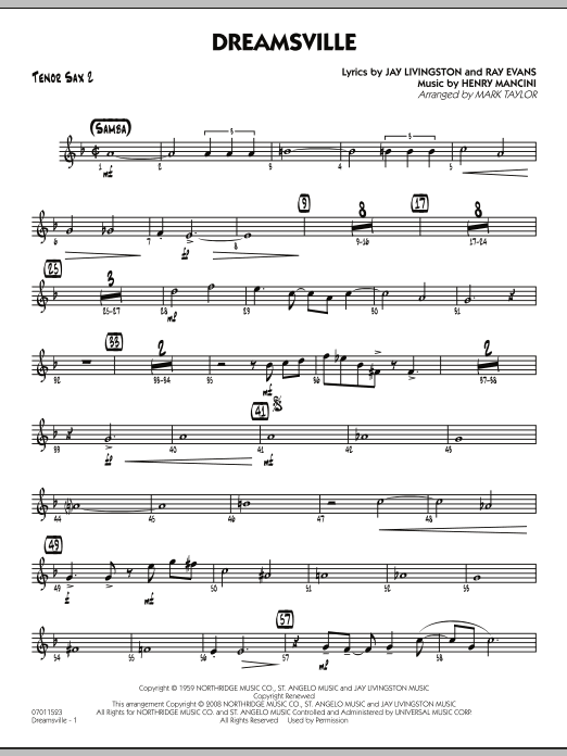 Dreamsville - Tenor Sax 2 (Jazz Ensemble)