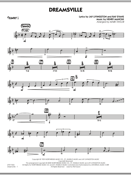 page one of Dreamsville - Trumpet 1ASALTTEXT