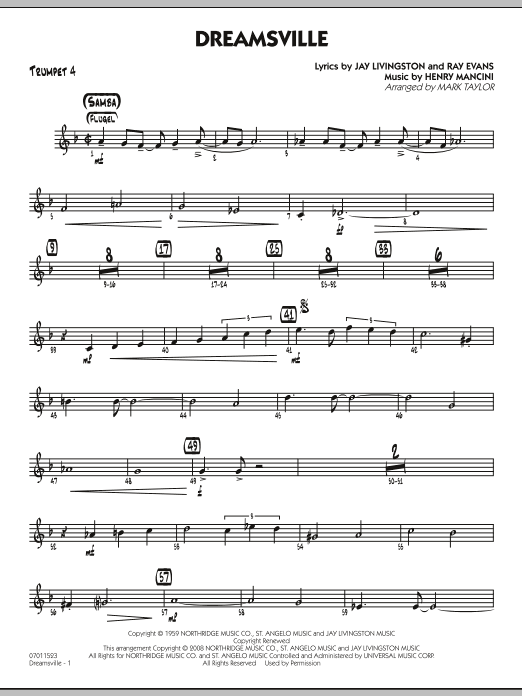 page one of Dreamsville - Trumpet 4ASALTTEXT