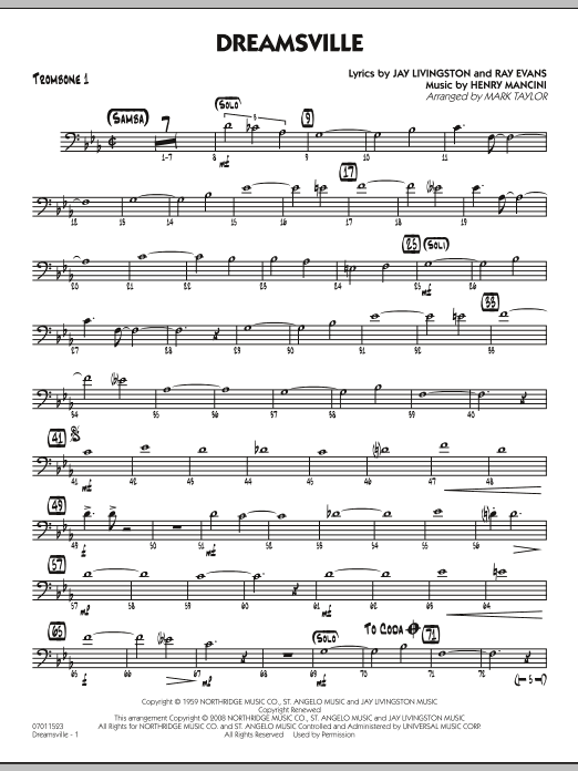 page one of Dreamsville - Trombone 1ASALTTEXT