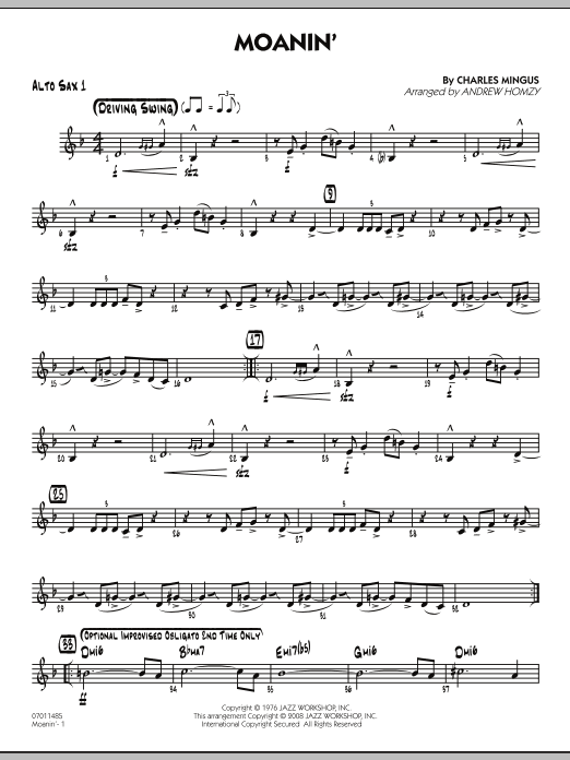Moanin' - Alto Sax 1 (Jazz Ensemble)