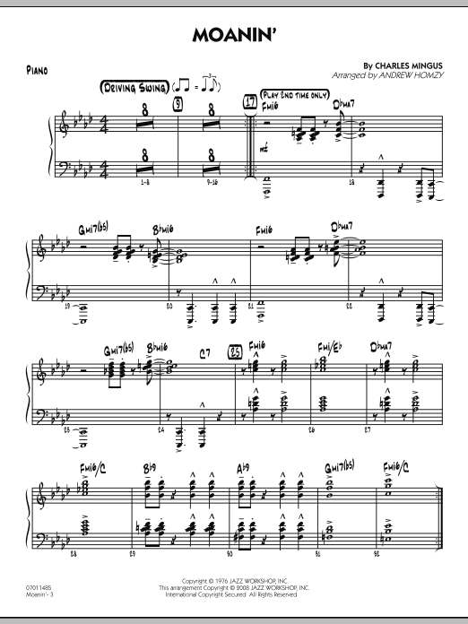Moanin' - Piano (Jazz Ensemble)