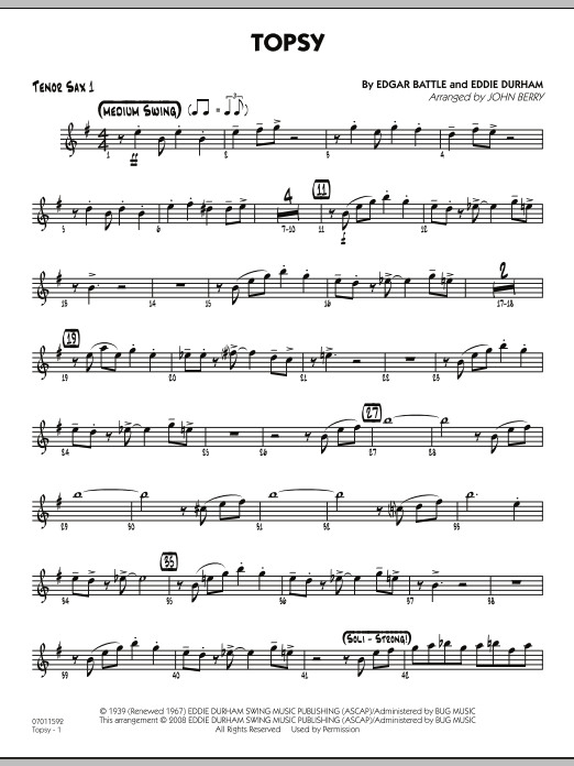 Topsy - Tenor Sax 1 (Jazz Ensemble)