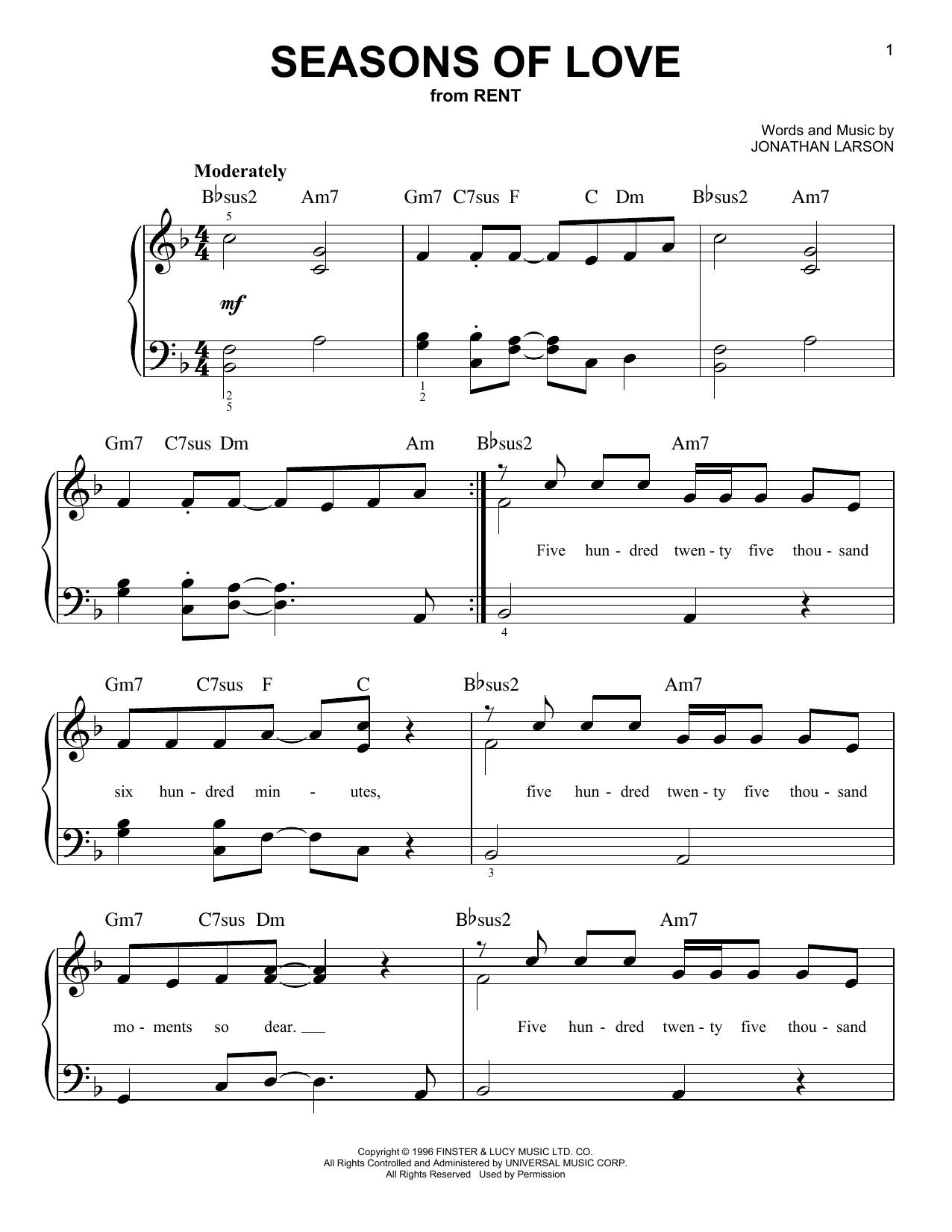 Seasons Of Love Sheet Music