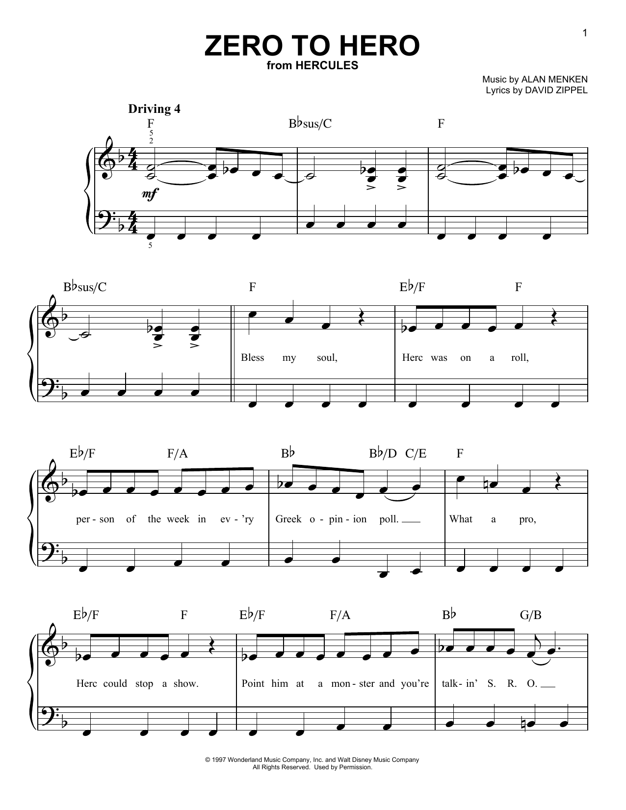 Zero To Hero (from Disney's Hercules) Sheet Music