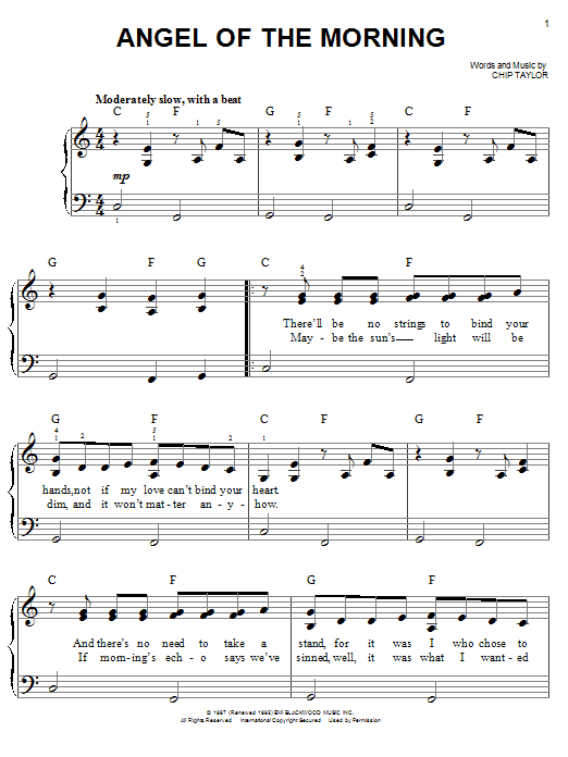 Angel Of The Morning Sheet Music