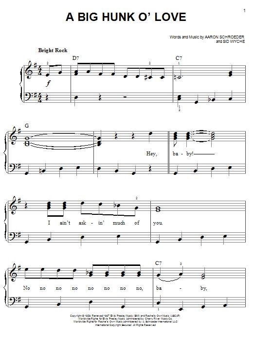 Partition piano A Big Hunk O' Love de Elvis Presley - Piano Facile