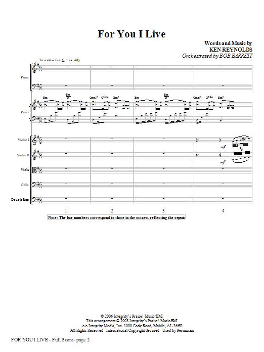 For You I Live - Full Score Sheet Music