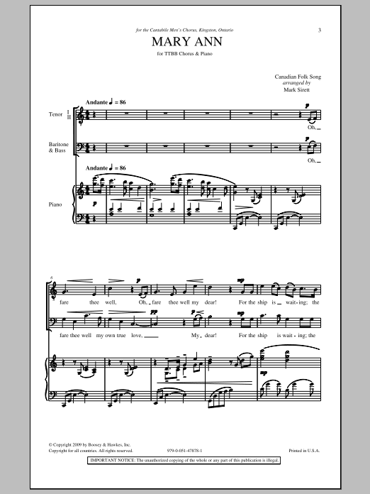 Mary Ann Sheet Music