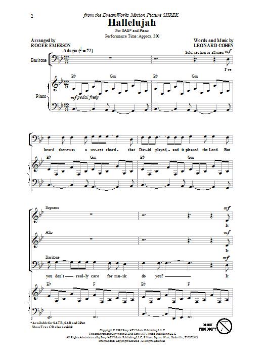 Partition chorale Hallelujah de Roger Emerson - SAB