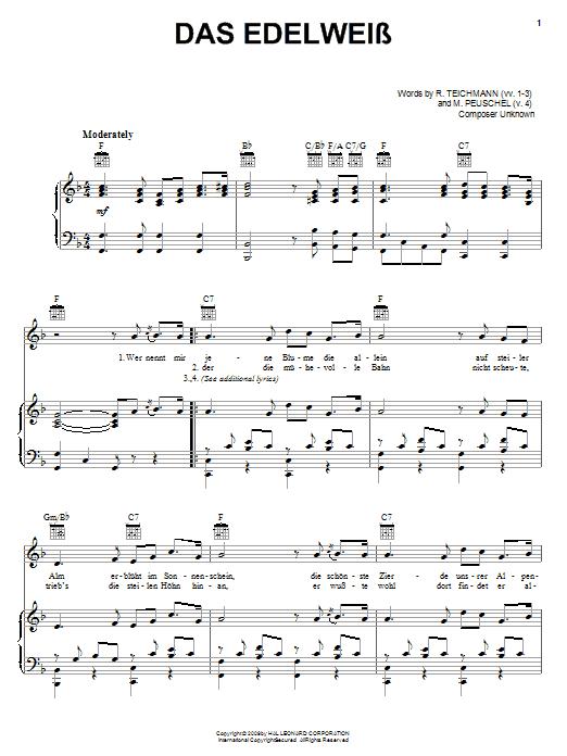 Das Edelweiss Sheet Music