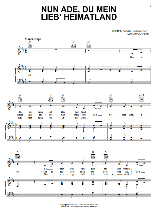Nun Ade, Du Mein Lieb' Heimatlan Sheet Music