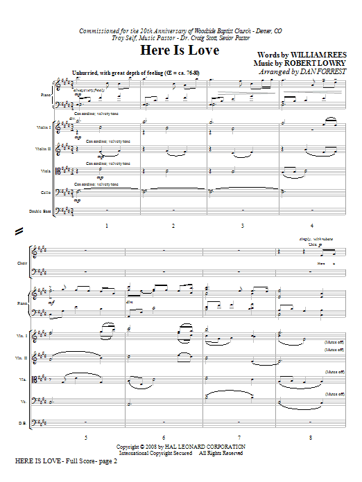 Here Is Love (COMPLETE) sheet music for orchestra/band (Special) by Dan Forrest, Robert Lowry and William Rees. Score Image Preview.