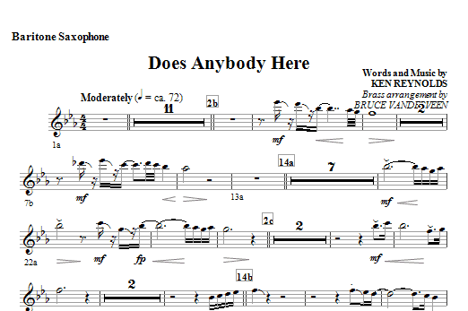 Does Anybody Here - Baritone Sax Sheet Music