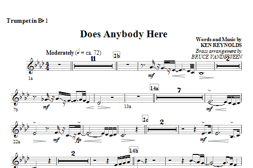 Does Anybody Here - Bb Trumpet 1 Sheet Music