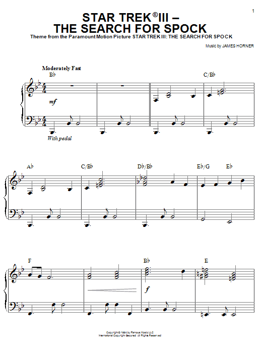 Star Trek(R) III - The Search For Spock Sheet Music