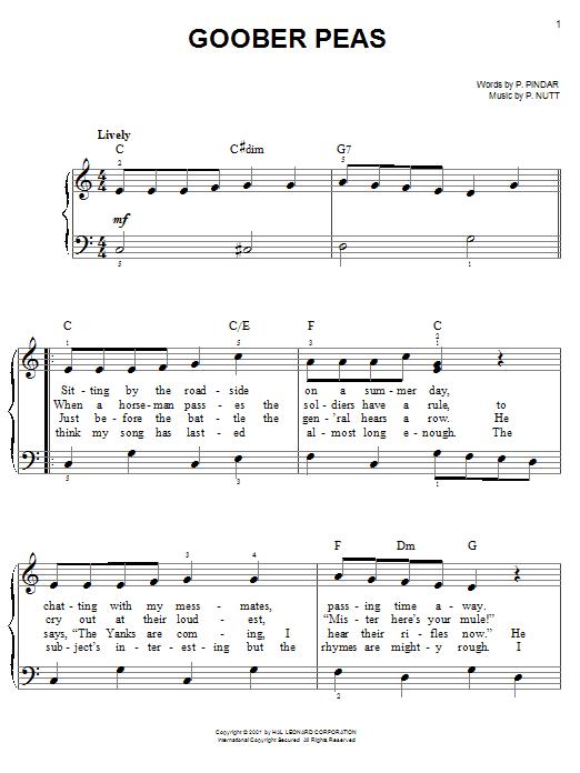 Goober Peas (Easy Piano)