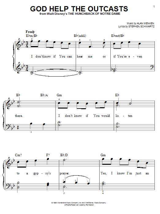 Partition piano God Help The Outcasts de Bette Midler - Piano Facile