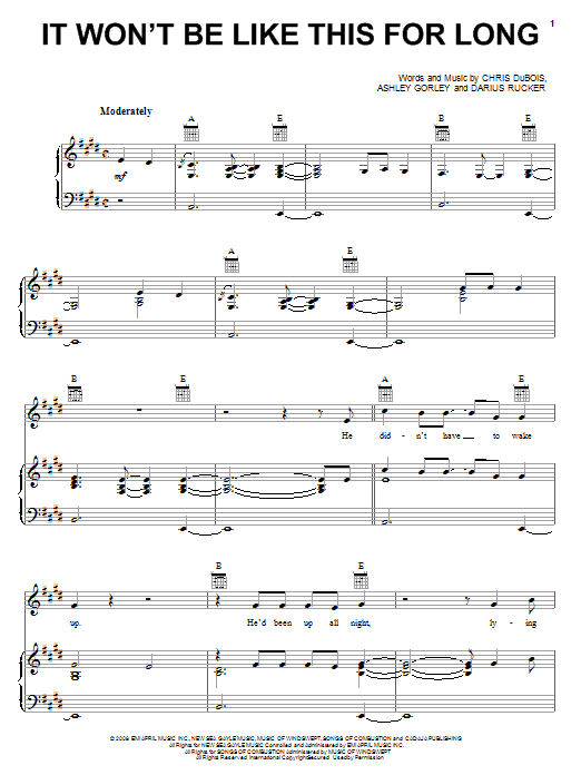 It Won't Be Like This For Long Sheet Music
