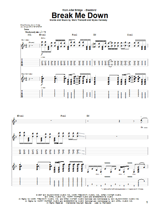Tablature guitare Break Me Down de Alter Bridge - Tablature Guitare