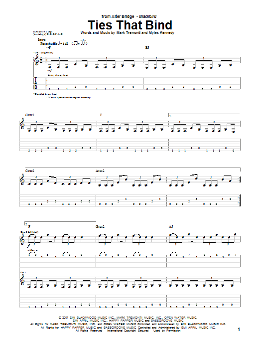 Tablature guitare Ties That Bind de Alter Bridge - Tablature Guitare