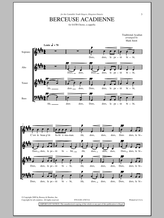 Berceuse Acadienne Sheet Music