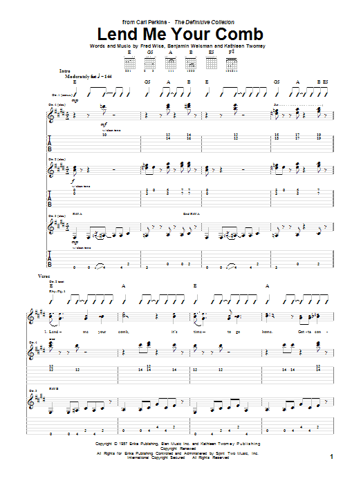 Lend Me Your Comb (Guitar Tab)