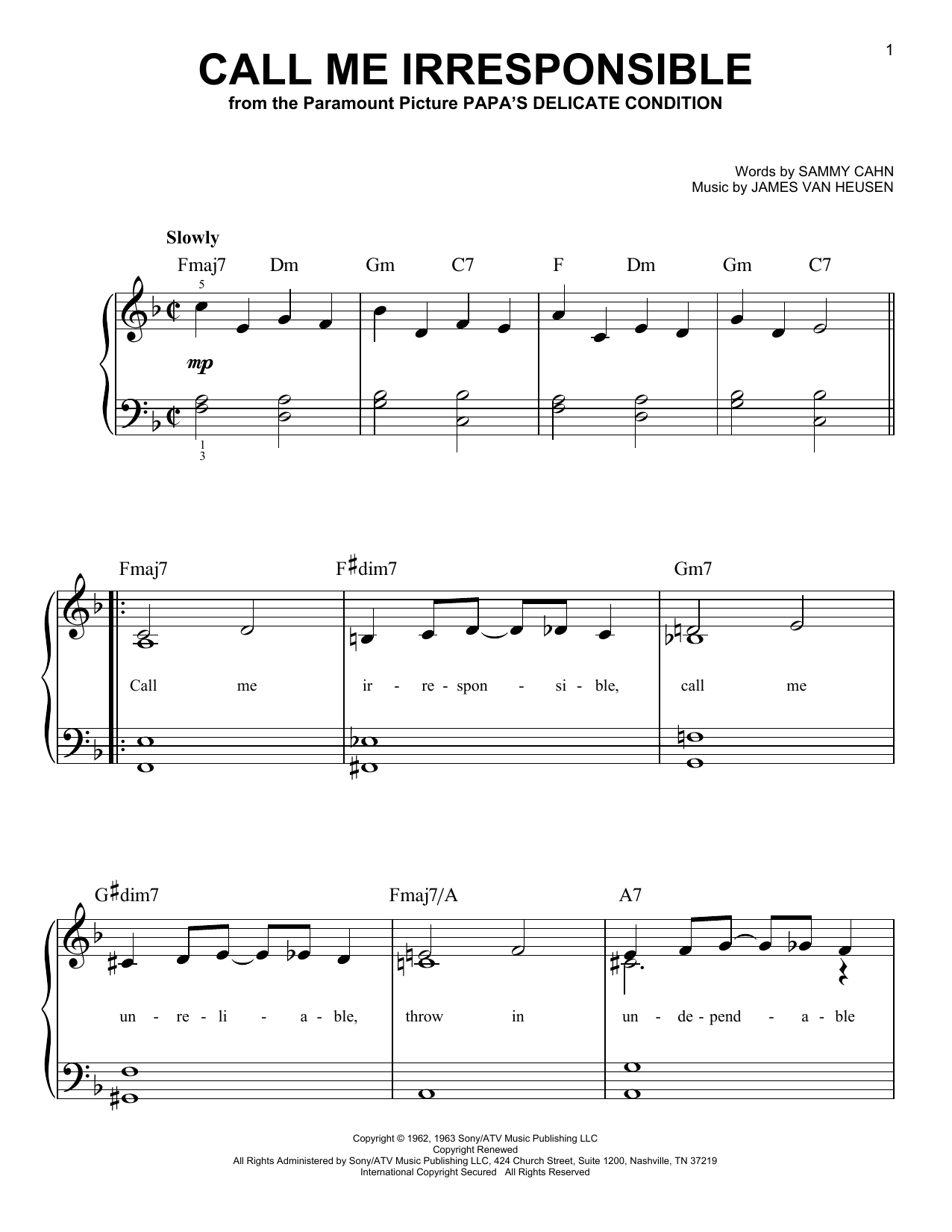 Call Me Irresponsible (Easy Piano)
