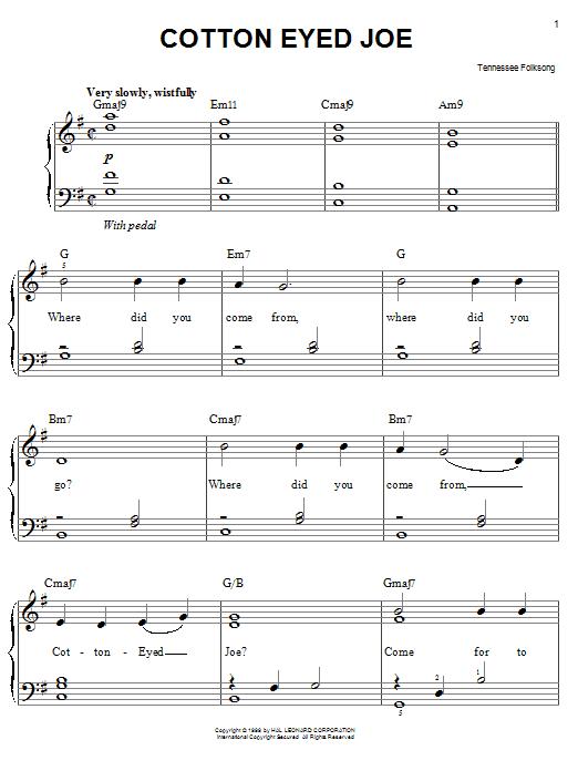Partition piano Cotton Eyed Joe de Tennessee Folksong - Piano Facile