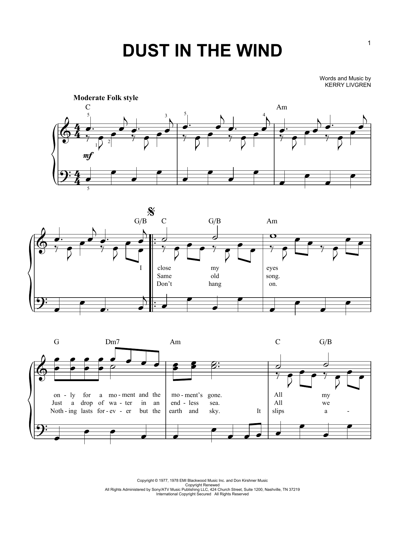 Partition piano Dust In The Wind de Kansas - Piano Facile