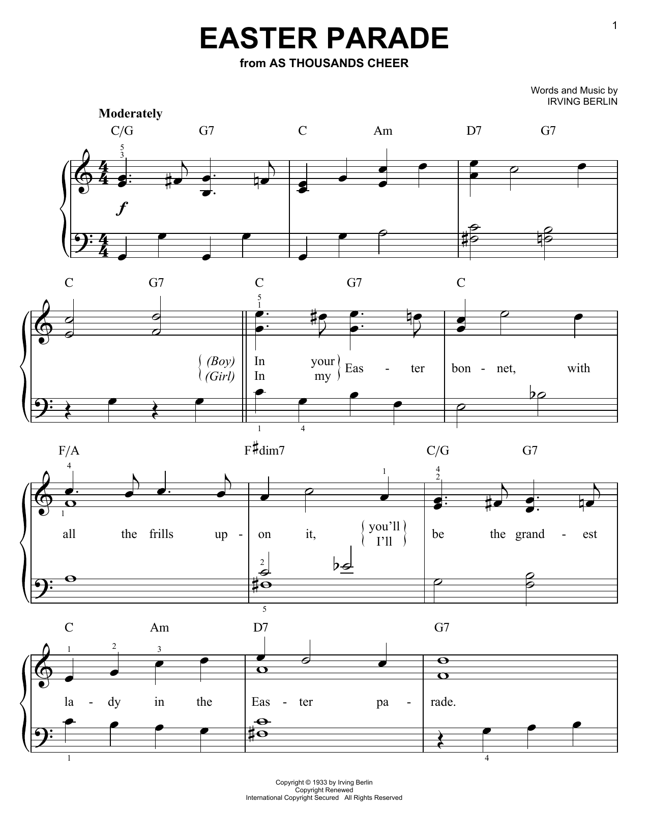Easter Parade (Easy Piano)