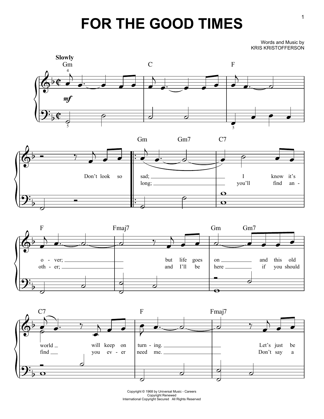 For The Good Times Sheet Music