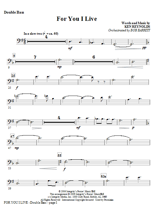 For You I Live - Keyboard String Reduction Sheet Music