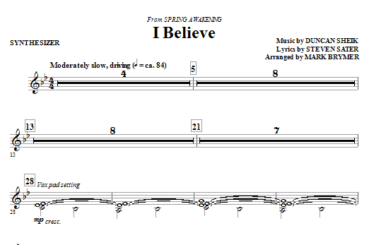 I Believe (complete set of parts) sheet music for orchestra/band (Rhythm) by Duncan Sheik and Mark Brymer. Score Image Preview.