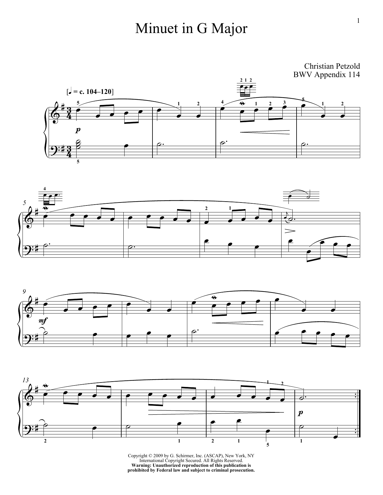 Partition piano Menuet In G Major, BWV App. 114 de Johann Sebastian Bach - Piano Solo
