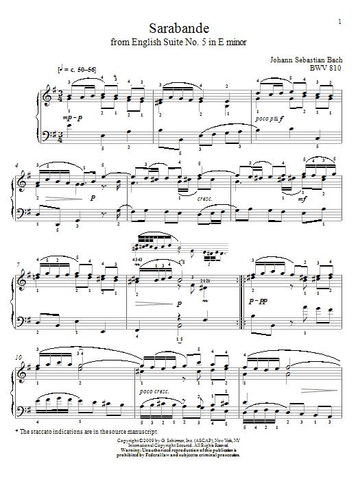 Sarabande, BWV 810 Sheet Music