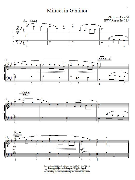 Menuet In G Minor, BWV App. 115 (Piano Solo)