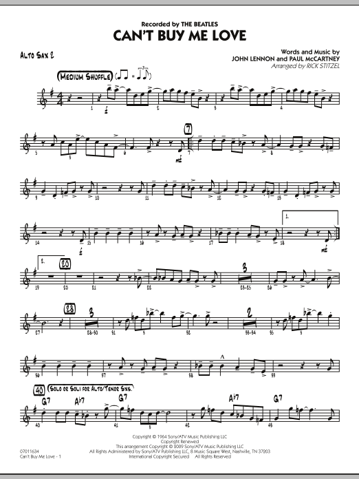 Can't Buy Me Love - Alto Sax 2 Sheet Music
