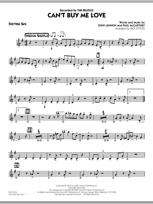 Can't Buy Me Love - Baritone Sax Sheet Music