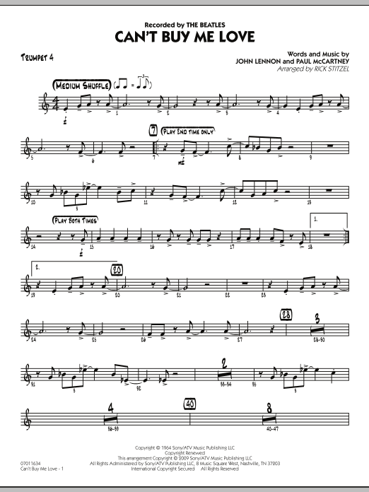 Can't Buy Me Love - Trumpet 4 Sheet Music