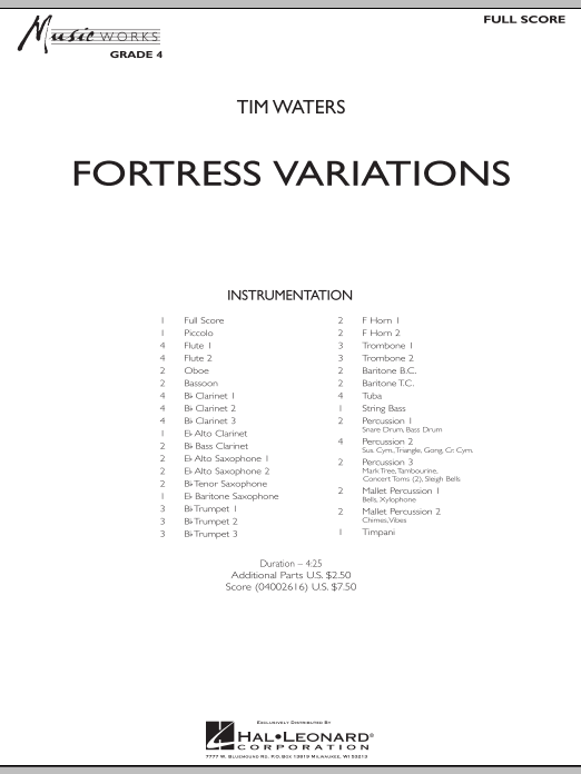 Fortress Variations (COMPLETE) sheet music for concert band by Tim Waters. Score Image Preview.
