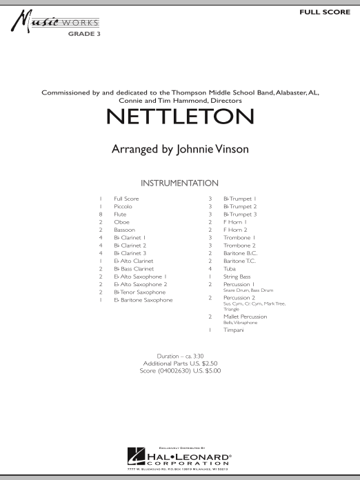Nettleton (COMPLETE) sheet music for concert band by Johnnie Vinson. Score Image Preview.