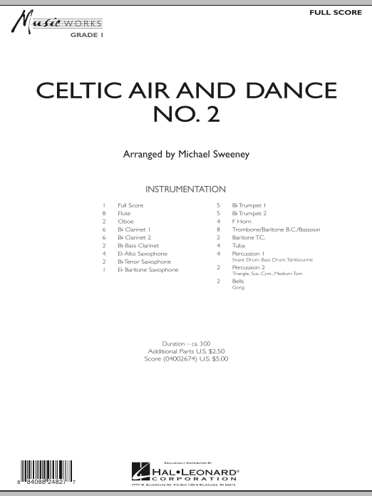 Celtic Air and Dance No. 2 (COMPLETE) sheet music for concert band by Michael Sweeney. Score Image Preview.