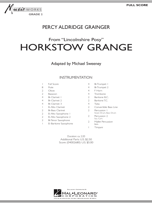 Horkstow Grange (COMPLETE) sheet music for concert band by Percy Aldridge Grainger and Michael Sweeney. Score Image Preview.