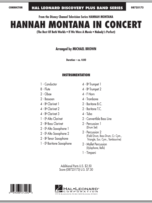 Hannah Montana in Concert (COMPLETE) sheet music for concert band by Miley Cyrus, Hannah Montana and Michael Brown. Score Image Preview.