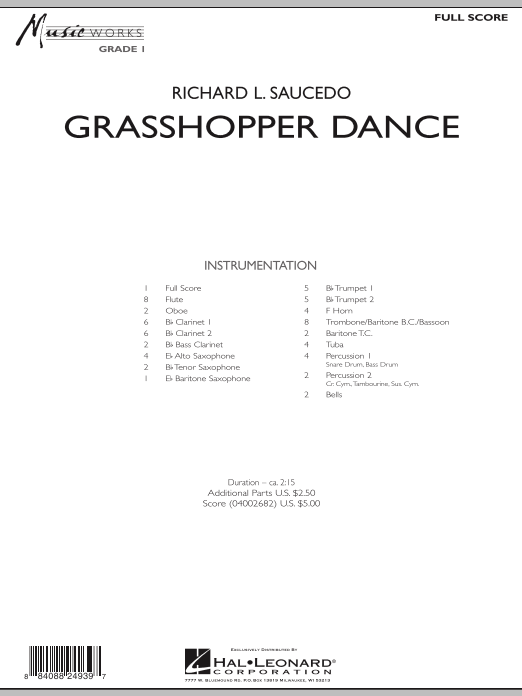 Grasshopper Dance (COMPLETE) sheet music for concert band by Richard L. Saucedo. Score Image Preview.