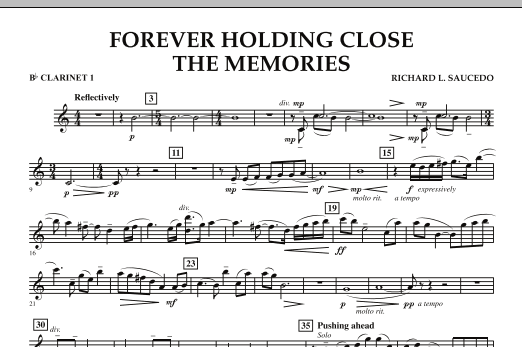 Forever Holding Close the Memories - Bb Clarinet 1 (Concert Band)