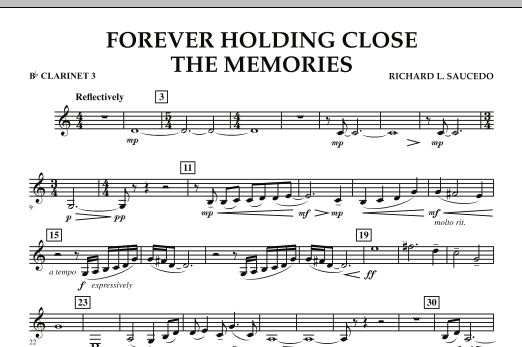 Forever Holding Close the Memories - Bb Clarinet 3 (Concert Band)