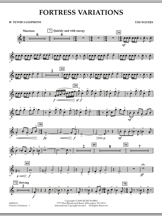 Fortress Variations - Bb Tenor Saxophone (Concert Band)